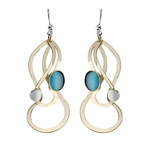 Christophe Poly Long Swirling Layers Earrings