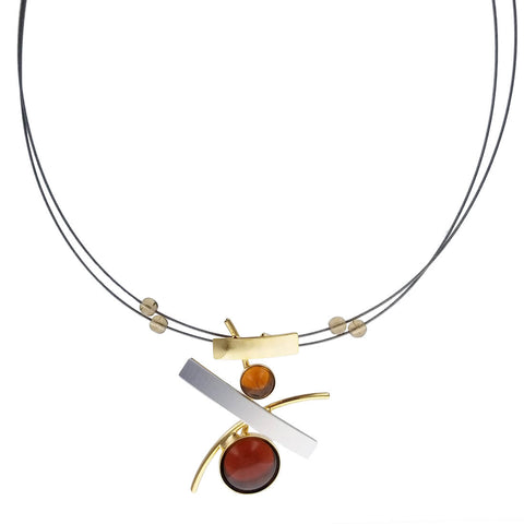 Christophe Poly Maple Circle Mixed Metal Tabs Necklace