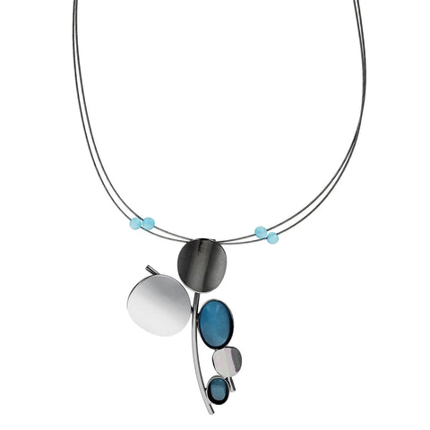 Christophe Poly Metallic Circles Blue Pendant Necklace