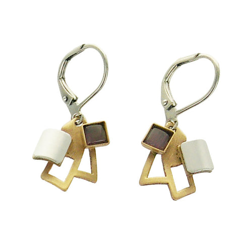 Christophe Poly Mini Squares Mauve Earrings