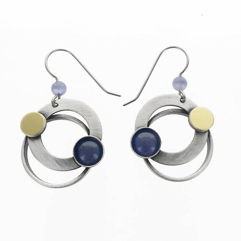 Christophe Poly Earrings With Mixed Metal And Circles