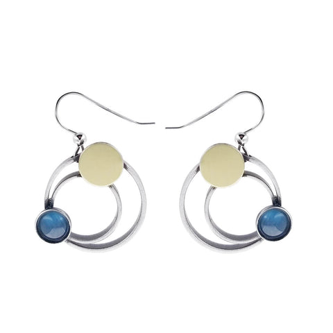 Christophe Poly Mixed Metal Circles Blue Earrings