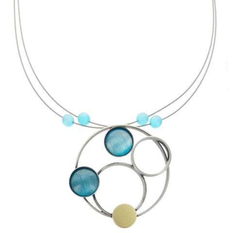 Christophe Poly Mixed Metal Circles Blue Necklace