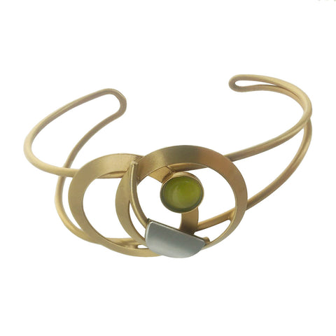 Christophe Poly Abstract Gold Circles Cuff