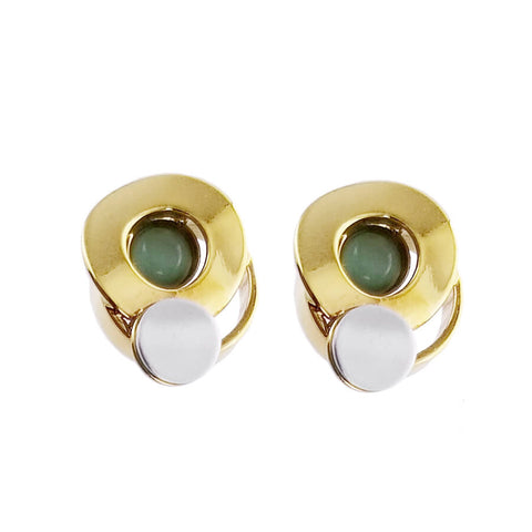 Christophe Poly Mixed Metal Circles Post Green Earrings