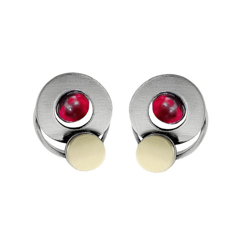 Christophe Poly Mixed Metal Circles Post Red Earrings
