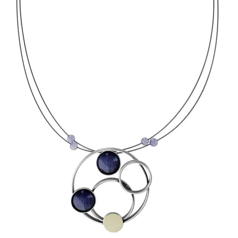 Christophe Poly Mixed Metal Circles Purple Necklace