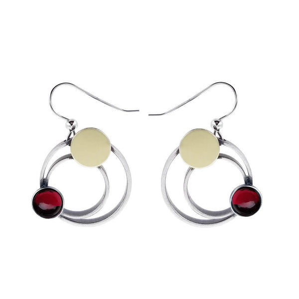 Christophe Poly Mixed Metal Circles Red Earrings