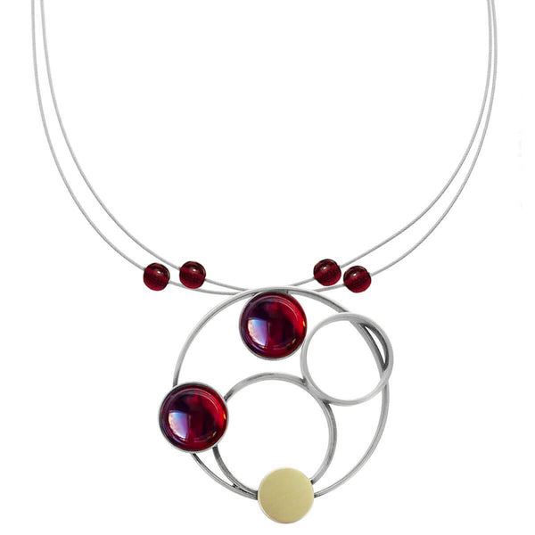 Christophe Poly Mixed Metal Circles Red Necklace