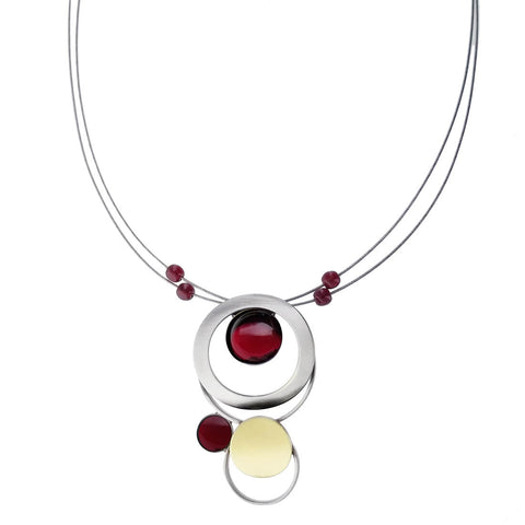 Christophe Poly Mixed Metal Circles With Red Necklace