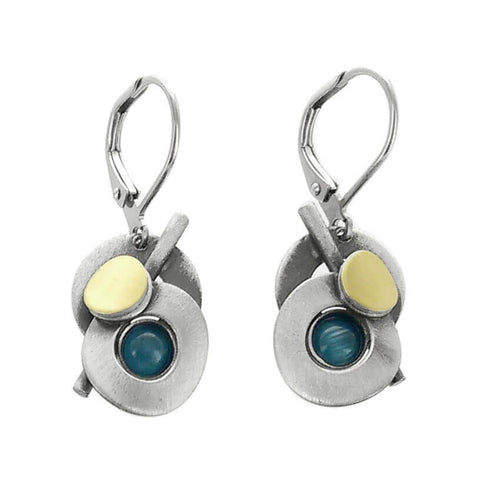 Christophe Poly Mixed Metal Circles Stem Blue Earrings