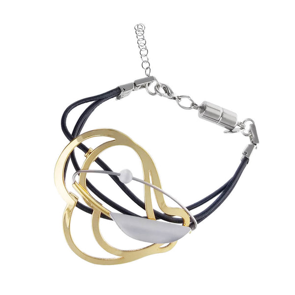 Christophe Poly Mixed Metal Curvy Triple Leather Bracelet