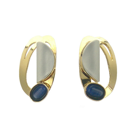 Christophe Poly Mixed Metal Oval Blue Post Earrings