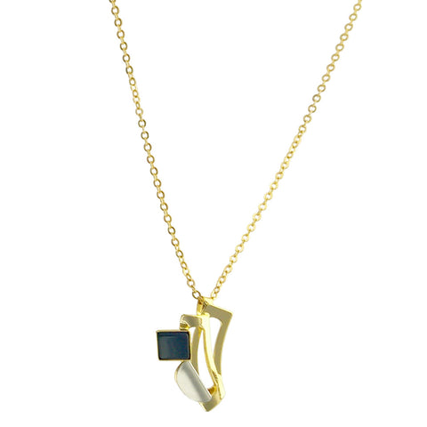 Christophe Poly Mixed Metal Square Petal Chain Necklace