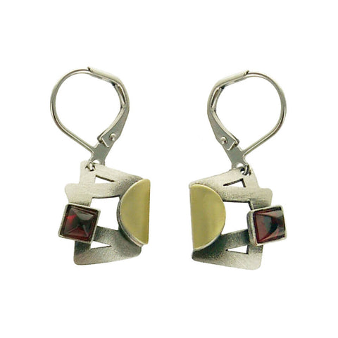 Christophe Poly Matte Silver And Gold Squares Red Earrings