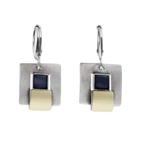 Christophe Poly Mixed Metal Squares Lever Back Earrings
