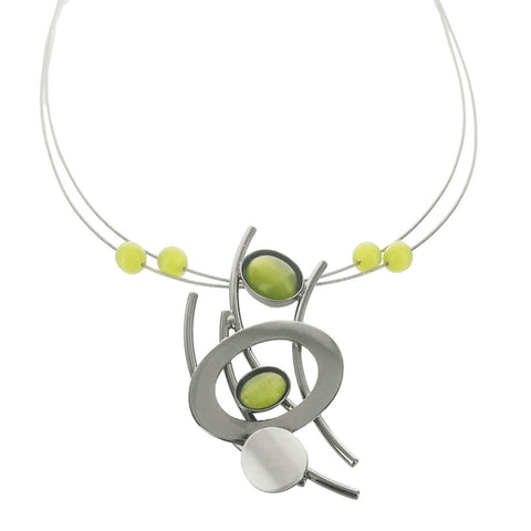 Christophe Poly Mixed Metals Ovals Rods Green Necklace