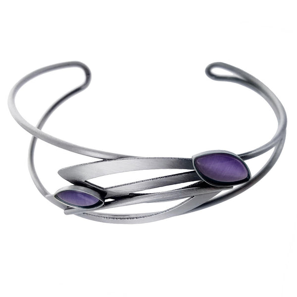 Christophe Poly Multi Marquise Silver Purple  Cuff