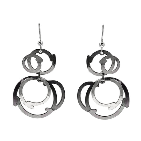 Christophe Poly Multi Silver Circle Earrings