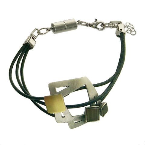 Christophe Poly Multi Squares Triple Leather Bracelet