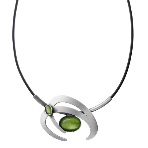 Christophe Poly Energetic Circles Green Cabochon Necklace