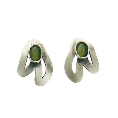 Christophe Poly Organic Leaf Oval Cabochon Post Earrings