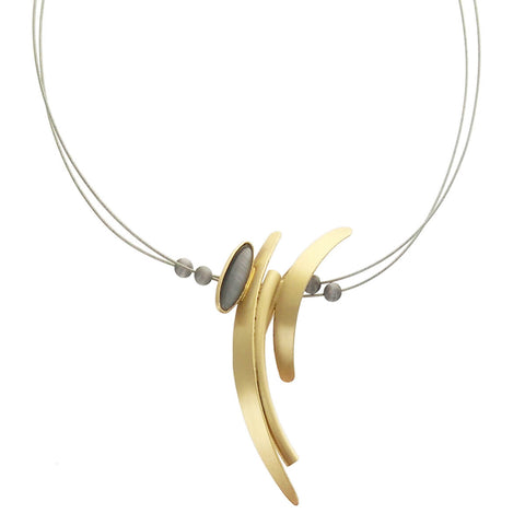 Christophe Poly Vertical Arcs With Oval Cabochon Necklace