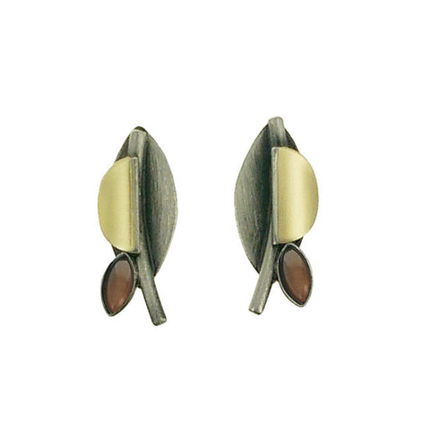 Christophe Poly Mixed Metal Marquis Petal Post Earrings