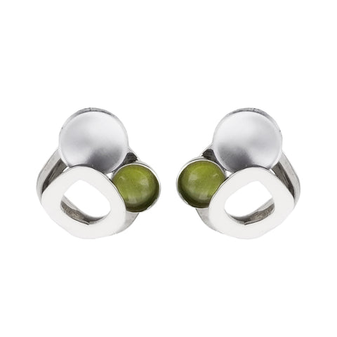 Christophe Poly Petite Silver Green Circles Post Earring
