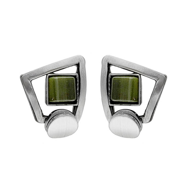 Christophe Poly Petite Spirited Squares Green Post Earrings