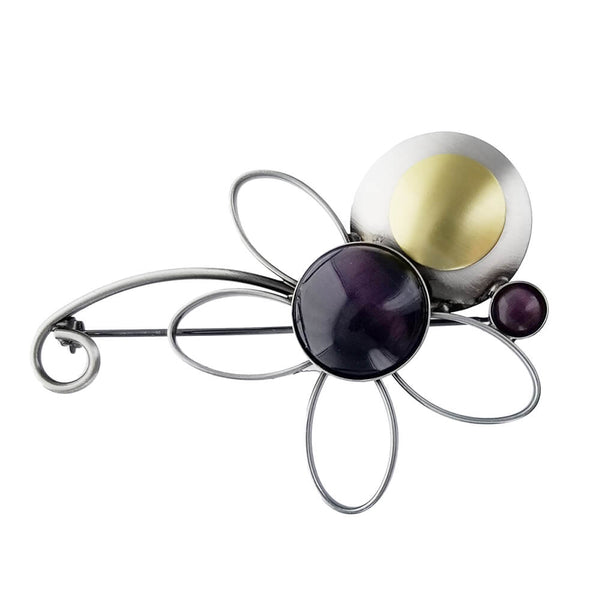 Christophe Poly Purple Flower Brooch