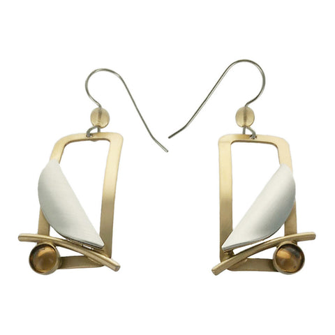 Christophe Poly Rectangle Half Petal Earrings