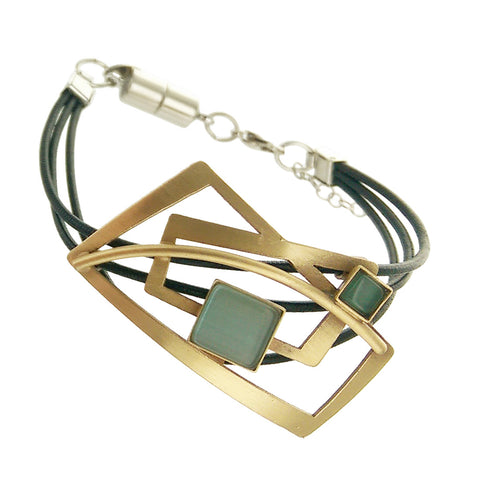 Christophe Poly Gold Rectangles Leather Bracelet