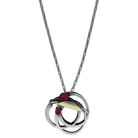Christophe Poly Red Dancer Pendant Long Chain Necklace
