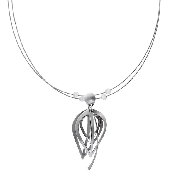 Christophe Poly Triple Silver Reverse Teardrop Necklace
