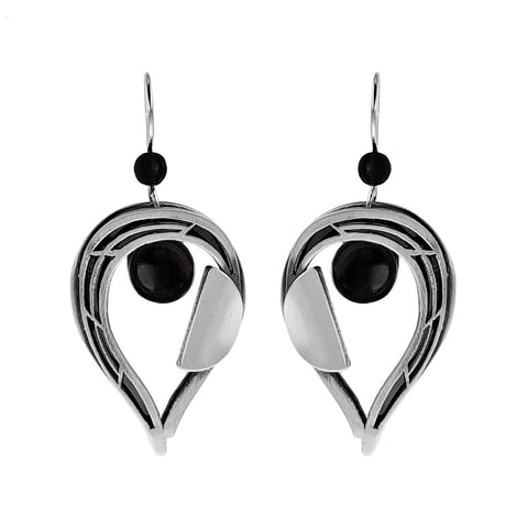 Christophe Poly Reverse Teardrop With Black Cabachon Earrings