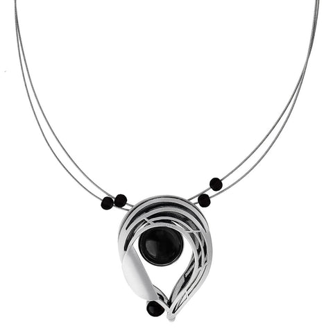 Christophe Poly Reverse Teardrop With Black Pendant Necklace