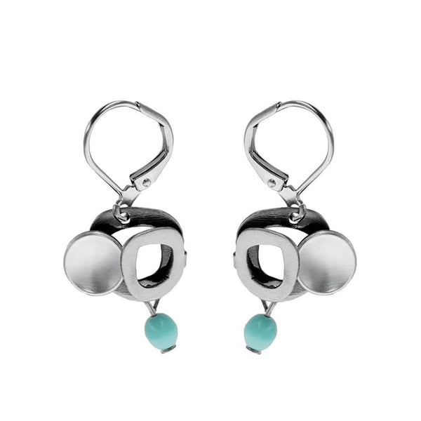 Christophe Poly Round Elements Turquoise Drop Earrings