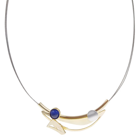 Christophe Poly Shining Gold Smile Blue Circle Necklace