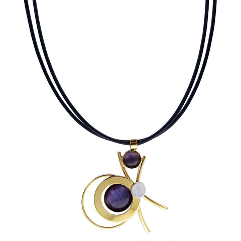 Christophe Poly Shiny Gold Circles Leather Necklace