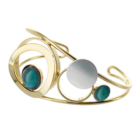 Christophe Poly Shiny Gold Silver Blue Circles Cuff