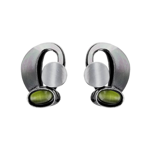Christophe Poly Silver Arch With Green Post Earrings