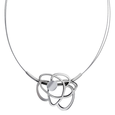 Christophe Poly Silver Atomic Flower Necklace