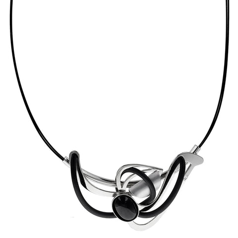 Christophe Poly Silver Black Bird Pendant Necklace