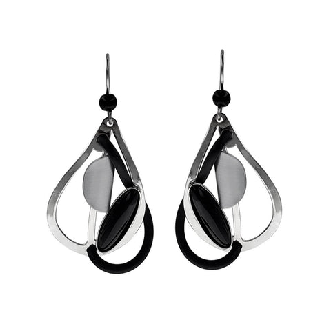 Christophe Poly Silver Black Tear Drop Earrings