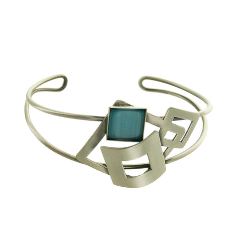 Christophe Poly Silver Blue Squares Cuff