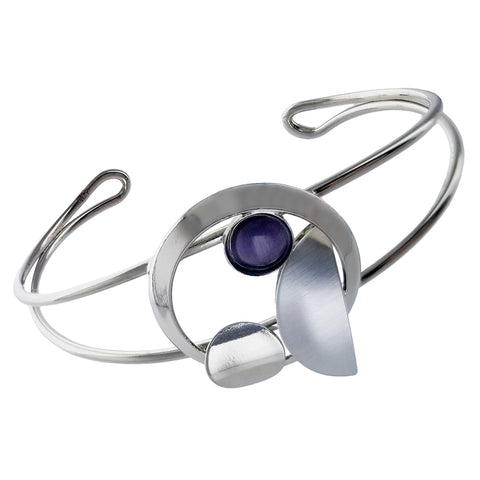 Christophe Poly Silver Circle Petal Purple Glass Cuff