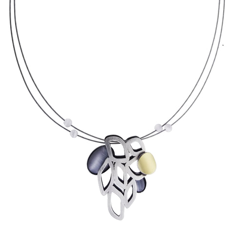 Christophe Poly Silver Flames Pendant Necklace