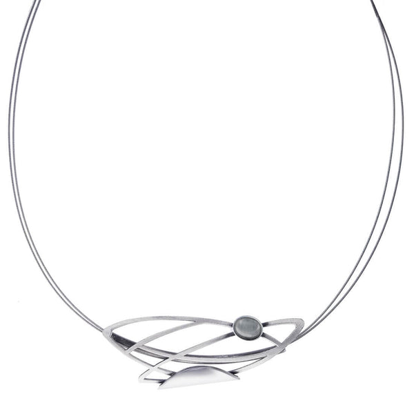 Christophe Poly Silver Floating Leaves Necklace