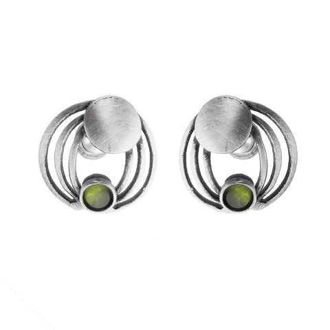 Christophe Poly Silver Gills Green Post Earrings